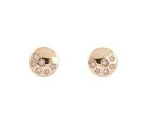 9ct Yellow Gold Diamond Floral Earrings