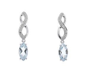 9ct White Gold 0.75ct Aquamarine & Diamond Infinity Drop Earrings