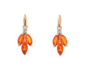 9ct Yellow Gold Fire Opal & Diamond Earrings