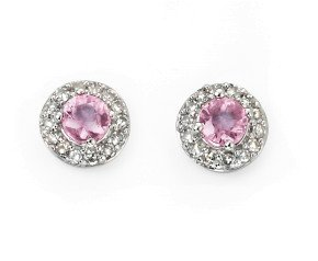 9ct White Gold Pink Sapphire & Diamond Cluster Earrings