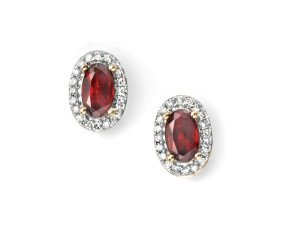 9ct Gold Garnet & Diamond Cluster Earrings