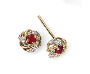 9ct Gold Ruby & Diamond Earrings