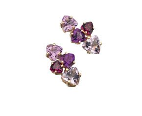 9ct Yellow Gold Amethyst & Garnet Earrings