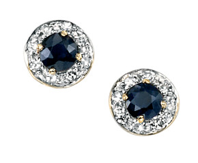 9ct Yellow Gold Sapphire & Diamond Cluster Earrings