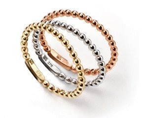 9ct Rose White & Yellow Gold Stacking Rings