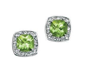 9ct White Gold Peridot & Diamond Halo Earrings