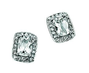 9ct White Gold 1.26ct Colourless Topaz & Diamond Halo Earrings