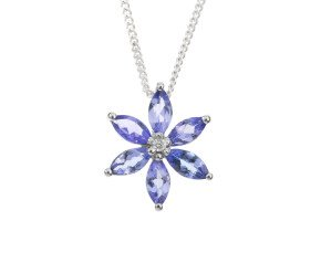 9ct White Gold Tanzanite & Diamond Pendant
