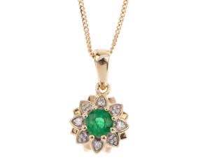 9ct Gold Emerald & Diamond Pendant