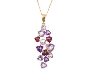 9ct Yellow Gold Amethyst & Garnet Pendant
