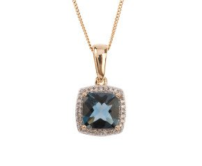 9ct Yellow Gold Topaz & Diamond Pendant