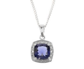 9ct White Gold Iolite & Diamond Pendant
