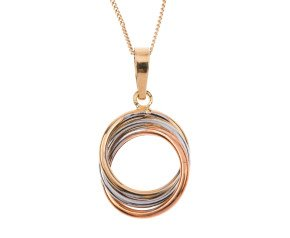 9ct Rose, White & Yellow Gold Hoop Pendant