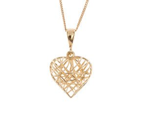 9ct Yellow Gold Caged Heart Pendant