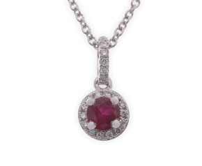 18ct White Gold Ruby & Diamond Halo Pendant