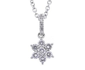 18ct White Gold 0.30ct Diamond Flower Pendant