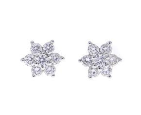 18ct White Gold 0.37ct Diamond Cluster Earrings