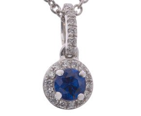 18ct White Gold Sapphire & Diamond Halo Pendant