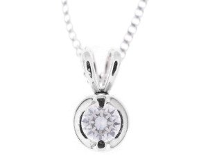 18ct White Gold 0.10ct Diamond Solitaire Pendant
