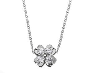 18ct White Gold 0.17ct Diamond Four Leaf Clover Pendant