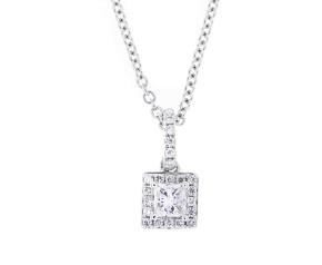 18ct White Gold 0.27ct Diamond Cluster Pendant