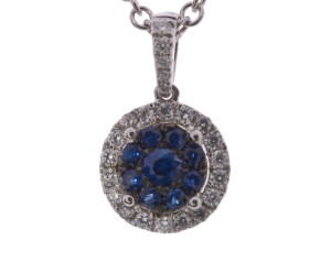18ct White Gold 0.30ct Sapphire & Diamond Cluster Pendant