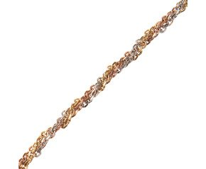 9ct Yellow White & Rose Gold Three Strand Twist Necklace