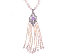 Pearl & Amethyst Opera Length Necklace