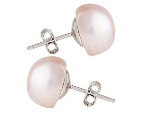 Silver 10mm Freshwater Lilac Button Pearl Earrings
