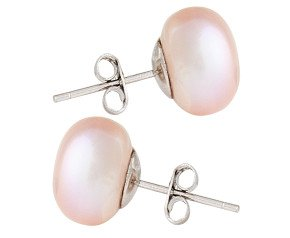 Silver 11mm Freshwater Lilac Button Pearl Earrings