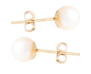 9ct Gold 6.8mm Freshwater Pearl Earrings