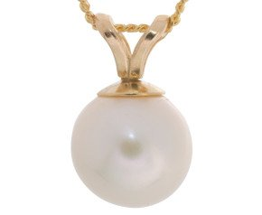 9ct Gold 7mm Freshwater Pearl Pendant