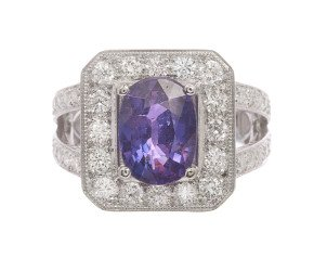 18ct White Gold 3.20ct Fancy Purple Sapphire & Diamond Halo Ring