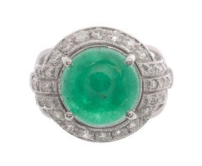 18ct White Gold 6.15ct Jade & Diamond Dress Ring