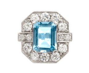 2.00ct Aquamarine & Diamond Cocktail Ring