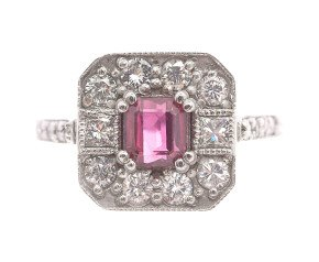 18ct White Gold 0.51ct Ruby & Diamond Ring
