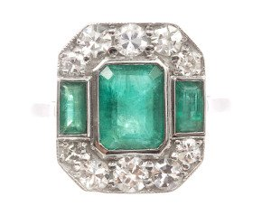 1.51ct  Emerald & Diamond Ring