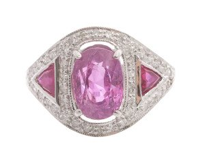 18ct White Gold 3.00ct Pink Sapphire Ruby & Diamond Ring