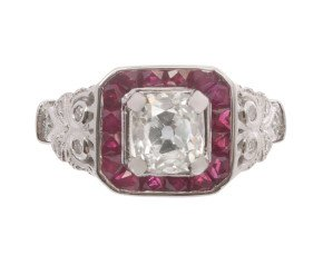1.10 ct Diamond & Ruby Ring