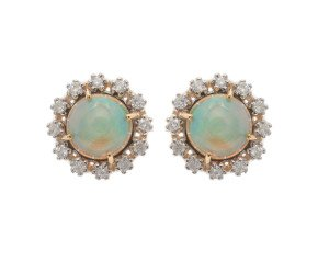 6.00ct Opal & Diamond Earrings