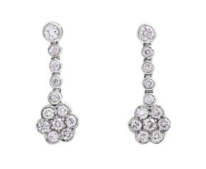 18ct White Gold 1.63ct Diamond Drop Earrings