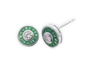 0.34ct Diamond & Emerald Cluster Earrings