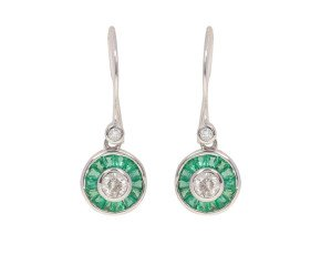 0.50ct Diamond & Emerald Halo Drop Earrings