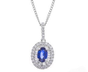 Pre-Owned 0.59ct Sapphire & Diamond Cluster Pendant