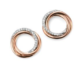 9ct Rose & White Gold Diamond Earrings