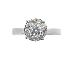 18ct White Gold 0.52ct Diamond Cluster Ring