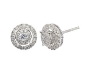 18ct White Gold 0.52ct Diamond Cluster Earrings