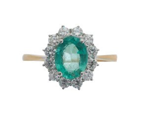 18ct Gold 1.46ct Emerald & Diamond Ring