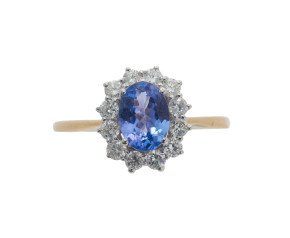 18ct Gold 0.73ct Tanzanite & Diamond Ring