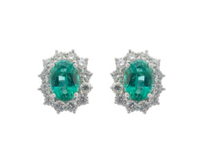 18ct White Gold 1.32ct Emerald & Diamond Earrings